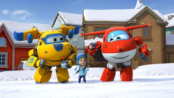In Finnland helfen Donnie und Jett dem Jungen Stig, der einen riesigen Schneemann bauen will. | Rechte: KiKA/FunnyFlux/QianQi/EBS/CJ E&M