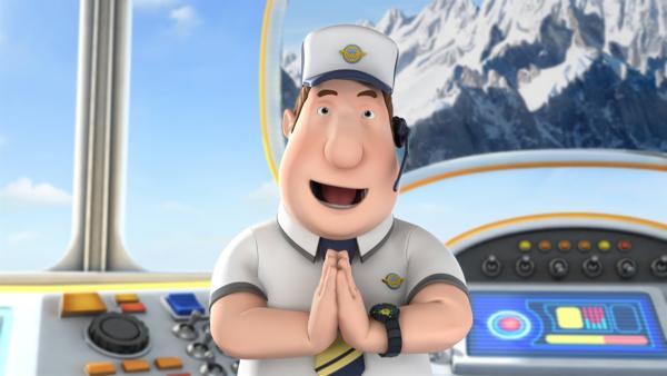 "Roger schickt Jett in den Himalaya, dort grüßen die Leute mit ""Namaste!"". | Rechte: KiKA/FunnyFlux/QianQi/EBS/CJ E&M"