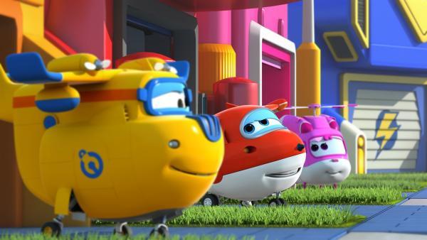 Donnie, Jett und Dizzy freuen sich auf den neuen Tag und ihre Aufgaben.   Rechte: KiKA/FunnyFlux/QianQi/EBS/CJ E&M