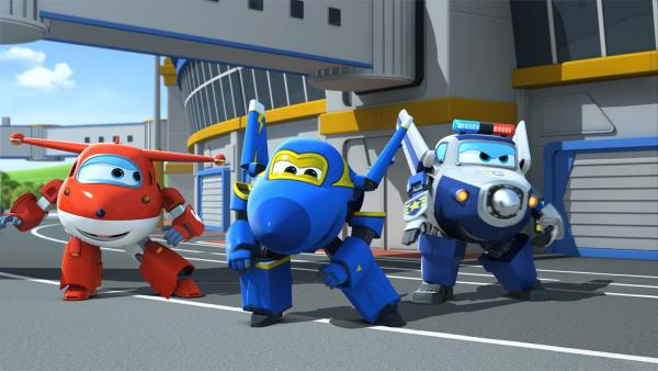 Jett, Jerome und Paul tanzen auf dem Flughafen. | Rechte: KiKA/FunnyFlux/QianQi/EBS/CJ E&M
