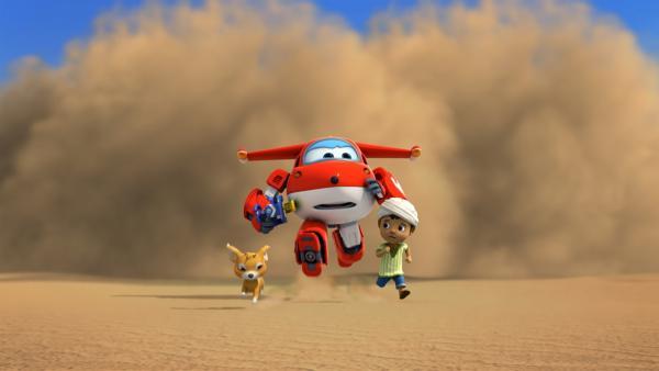 Jett und Ali flüchten vor dem Sandsturm. | Rechte: KiKA/FunnyFlux/QianQi/EBS/CJ E&M