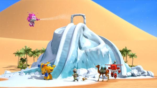 Donnie und Dizzy sorgen für Eis. Jett und Ali rodeln. | Rechte: KiKA/FunnyFlux/QianQi/EBS/CJ E&M