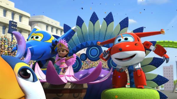 Camila tanzt mit Jett und Jerome an ihrer Seite in der Parade. | Rechte: KiKA/FunnyFlux/QianQi/EBS/CJ E&M