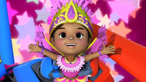 Camila tanzt in der großen Parade mit. | Rechte: KiKA/FunnyFlux/QianQi/EBS/CJ E&M