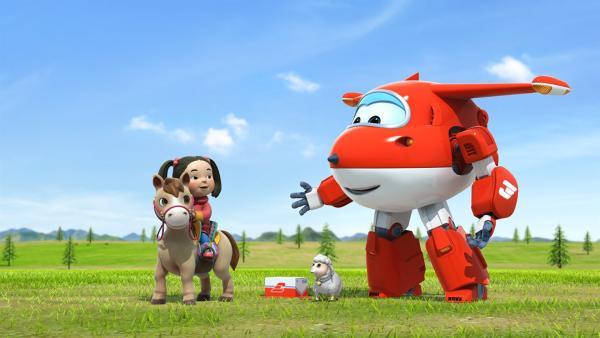 Nambayar, ihr Pony und Schäfchen Hüpfer wollen Jett die Schafe zeigen.  | Rechte: KiKA/FunnyFlux/QianQi/EBS/CJ E&M