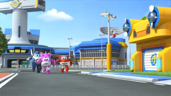 Paul, Dizzy und Jett laufen auf dem Flughafen um die Wette. | Rechte: KiKA/FunnyFlux/QianQi/EBS/CJ E&M