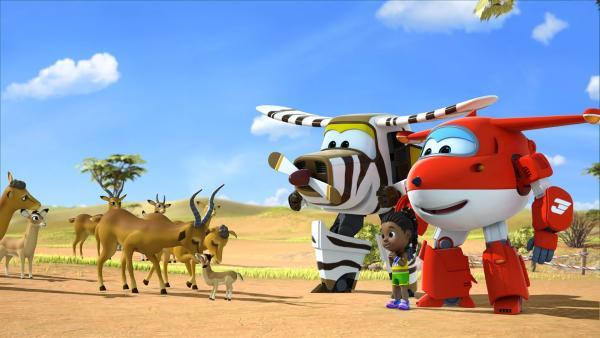 Bello, Jett und Nia haben das Antilopenbaby wieder mit seinen Eltern vereint.   Rechte: KiKA/FunnyFlux/QianQi/EBS/CJ E&M