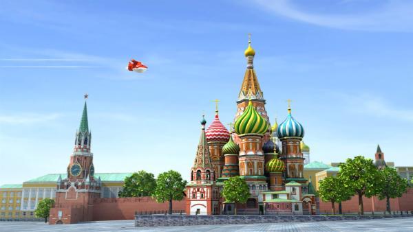 Jett auf dem Weg zum Zirkus. Er fliegt über den Roten Platz in Moskau. | Rechte: KiKA/FunnyFlux/QianQi/EBS/CJ E&M