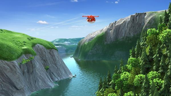Jett auf dem Flug durch einen Fjord. | Rechte: KiKA/FunnyFlux/QianQi/EBS/CJ E&M