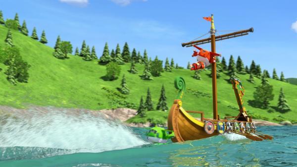 Jett und Mira bewahren das Winkingerboot vor dem Sturz über den Wasserfall. | Rechte: KiKA/FunnyFlux/QianQi/EBS/CJ E&M