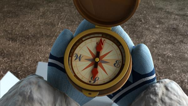 Enoks Vater hat ihm einen Kompass bestellt für das Schlittenhunderennen. | Rechte: KiKA/FunnyFlux/QianQi/EBS/CJ E&M