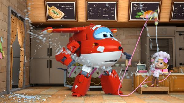 Jett und Martine verlieren die Kontrolle über die Maschine. | Rechte: KiKA/FunnyFlux/QianQi/EBS/CJ E&M