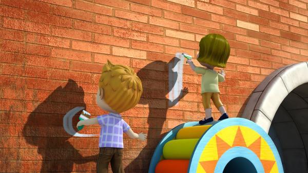 Gemeinsam bemalen die Kinder die Wand.   Rechte: KiKA/FunnyFlux/QianQi/EBS/CJ E&M