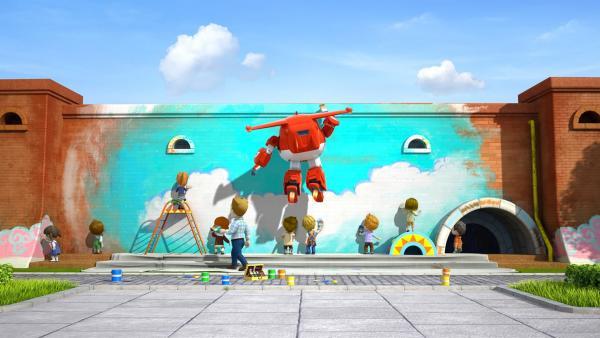 Auch Jett hilft dabei, die Wand zu bemalen. | Rechte: KiKA/FunnyFlux/QianQi/EBS/CJ E&M