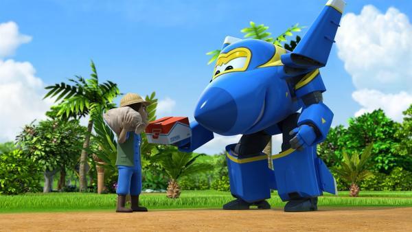 Auch Jerome darf mal ein Paket ausliefern. Es geht nach Thailand. | Rechte: KiKA/FunnyFlux/QianQi/EBS/CJ E&M