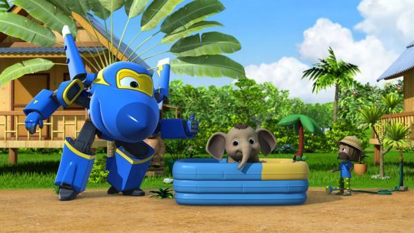 Nayan und Jerome bauen das Elefantenbabybad auf. | Rechte: KiKA/FunnyFlux/QianQi/EBS/CJ E&M