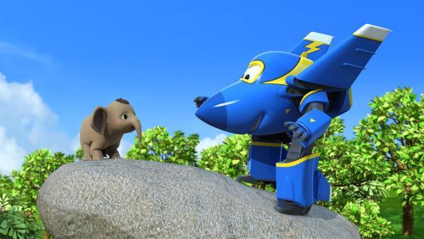 Jerome will den kleinen Elefanten vom Felsen locken. | Rechte: KiKA/FunnyFlux/QianQi/EBS/CJ E&M
