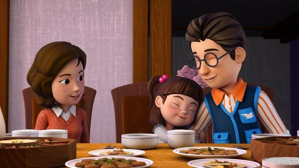Endlich ist die ganze Familie zusammen. Guten Appetit! | Rechte: KiKA/FunnyFlux/QianQi/EBS/CJ E&M