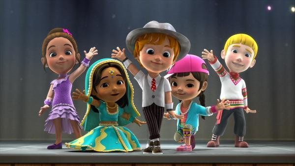 Trevor und seine Freunde üben für die große Show. | Rechte: KiKA/FunnyFlux/QianQi/EBS/CJ E&M