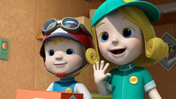 Alain und Adriana freuen sich über ihr Paket. | Rechte: KiKA/FunnyFlux/QianQi/EBS/CJ E&M