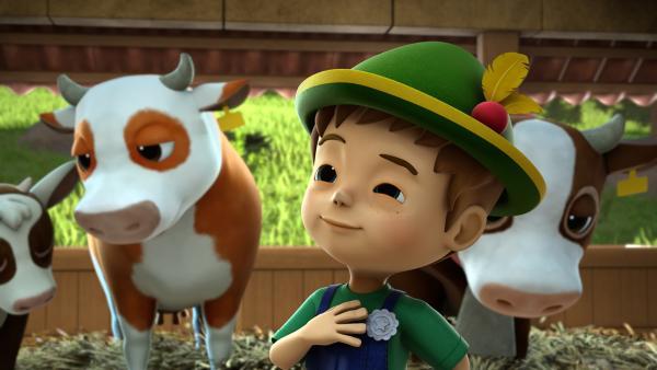 Urs erklärt Jett, wie man Kühe melkt. | Rechte: KiKA/FunnyFlux/QianQi/EBS/CJ E&M