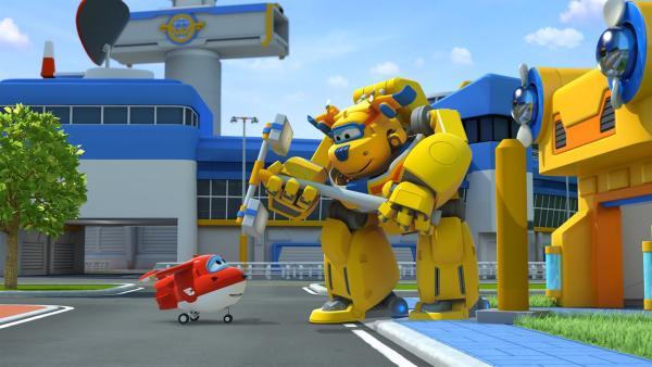 """Donnie hat sich ein mechanisches Gerüst gebaut und ist jetzt """"Riesen-Donnie"""".   Rechte: KiKA/FunnyFlux/QianQi/EBS/CJ E&M"""