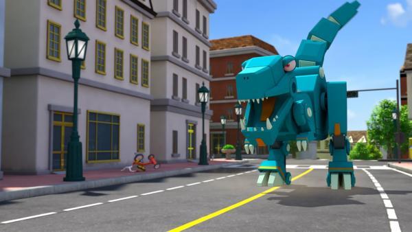 Noahs Dinosaurier rennt unkontrolliert durch die Stadt. | Rechte: KiKA/FunnyFlux/QianQi/EBS/CJ E&M