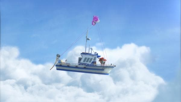 Dizzy hat das Schiff aus der Wasserhose gerettet und bringt es in sanftere Gewässer. | Rechte: KiKA/FunnyFlux/QianQi/EBS/CJ E&M