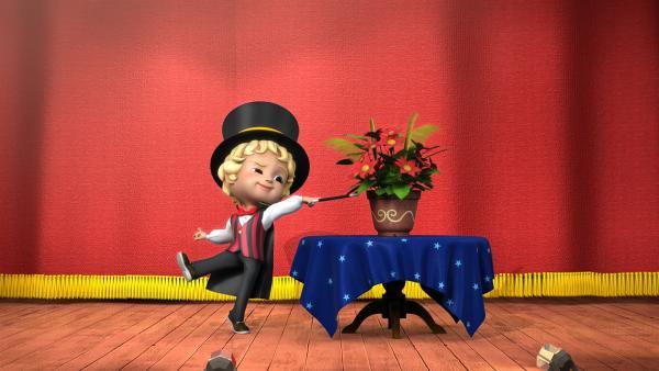 Gekonnt führt Moritz seine Zauberkünste vor. | Rechte: KiKA/FunnyFlux/QianQi/EBS/CJ E&M
