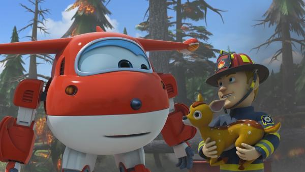 Jett hilft Lukas' Vater, ein Rehkitz zu retten. | Rechte: KiKA/FunnyFlux/QianQi/EBS/CJ E&M