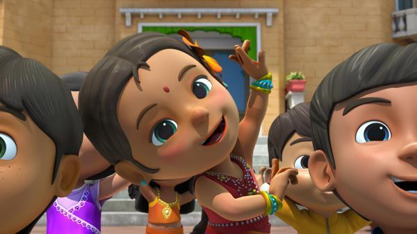 Meena tanzt in einem farbenfrohen Kostüm. | Rechte: KiKA/FunnyFlux/QianQi/EBS/CJ E&M