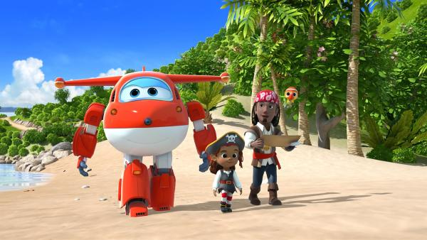 Cassi geht mit Jett, ihrem Onkel Eddie und Papagei Ginger auf Schatzsuche. | Rechte: KiKA/FunnyFlux/QianQi/EBS/CJ E&M