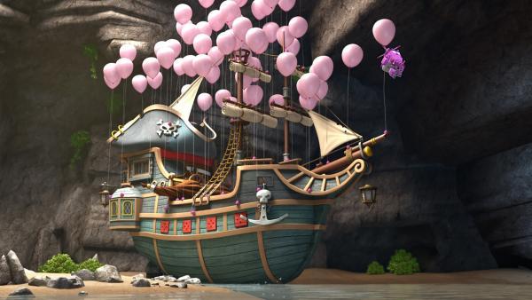 Dizzy befreit das Piratenschiff aus der Höhle.   Rechte: KiKA/FunnyFlux/QianQi/EBS/CJ E&M