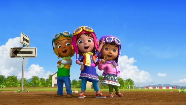 Luis, Pilar und Fernanda gründen einen Fliegerverein. | Rechte: KiKA/FunnyFlux/QianQi/EBS/CJ E&M