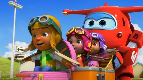 Gemeinsam mit Jett wollen sie das erste Mal fliegen. | Rechte: KiKA/FunnyFlux/QianQi/EBS/CJ E&M