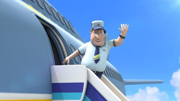 Roger kommt, um den Kindern beim Abheben zu helfen.   Rechte: KiKA/FunnyFlux/QianQi/EBS/CJ E&M