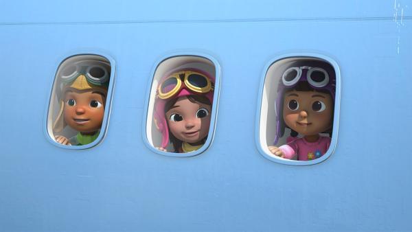 Die Kinder fliegen das erste Mal in einem Flugzeug.   Rechte: KiKA/FunnyFlux/QianQi/EBS/CJ E&M