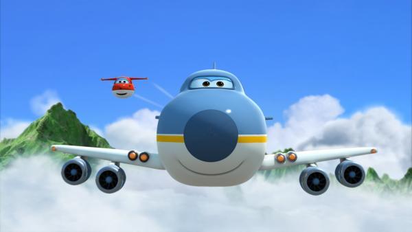 Big Wing und Jett fliegen mit den Kindern.   Rechte: KiKA/FunnyFlux/QianQi/EBS/CJ E&M