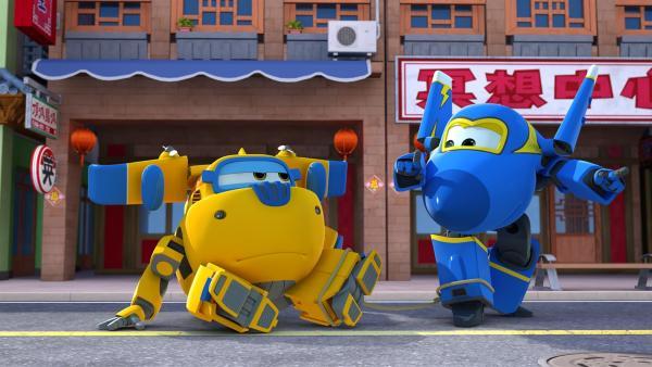 Donnie und Jerome kommen gemeinsam, um zu helfen. | Rechte: KiKA/FunnyFlux/QianQi/EBS/CJ E&M