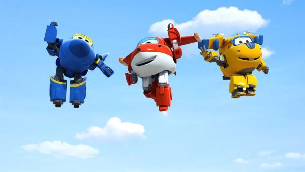 Die drei Super Wings verabschieden sich.   Rechte: KiKA/FunnyFlux/QianQi/EBS/CJ E&M