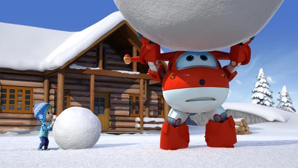 Stig und Jett wollen einen Riesenschneemann bauen. | Rechte: KiKA/FunnyFlux/QianQi/EBS/CJ E&M