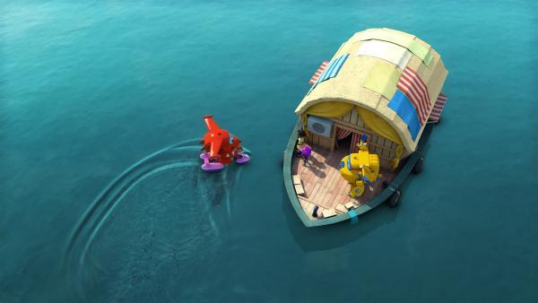 Mit dem Schwimmrad kommt Jett zum Hausboot von Rumas Mutter.   Rechte: KiKA/FunnyFlux/QianQi/EBS/CJ E&M