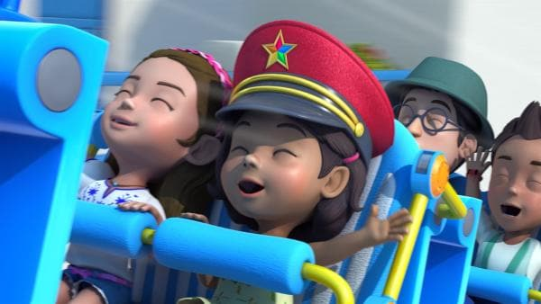 Gemeinsam Zug fahren macht sehr viel Spaß. | Rechte: KiKA/FunnyFlux/QianQi/EBS/CJ E&M