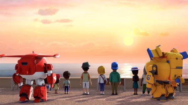 Der beeindruckende Sonnenuntergang wird von allen gemeinsam beobachtet.  | Rechte: KiKA/FunnyFlux/QianQi/EBS/CJ E&M