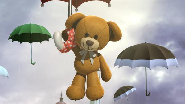 Teddy Spencer schwebt an seinem Schirm herab. | Rechte: KiKA/FunnyFlux/QianQi/EBS/CJ E&M