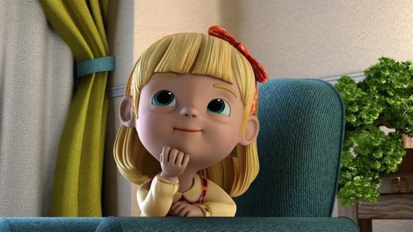 Cecily wartet sehnsüchtig auf ihren Teddybär, den ihr Jett bringt.   Rechte: KiKA/FunnyFlux/QianQi/EBS/CJ E&M