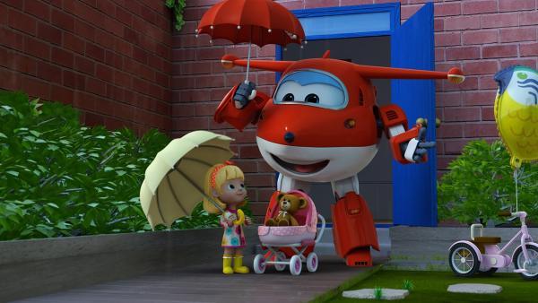 Cecily und Jett spielen mit dem Teddy im Garten. | Rechte: KiKA/FunnyFlux/QianQi/EBS/CJ E&M