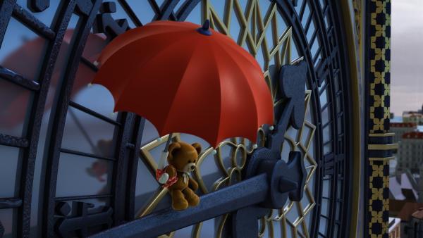 Der Teddybär ist am Regenschirm davongeschwebt. | Rechte: KiKA/FunnyFlux/QianQi/EBS/CJ E&M