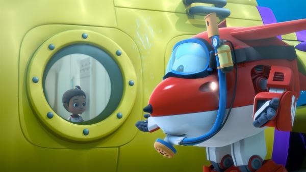 Der tauchende Jett verständigt sich mit Ayesha im U-Boot. | Rechte: KiKA/FunnyFlux/QianQi/EBS/CJ E&M