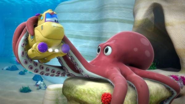 Das U-Boot, in dem Jett und Ayesha sind, wird von einem riesigen Oktopus festgehalten. | Rechte: KiKA/FunnyFlux/QianQi/EBS/CJ E&M